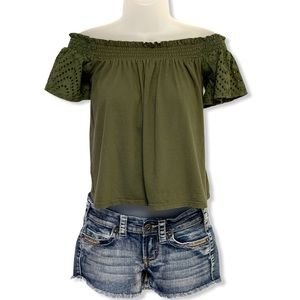 Express One Eleven Olive Crop Top Eyelet Sleeves